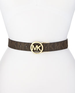 MICHAEL Michael Kors  Signature Logo Leather Belt