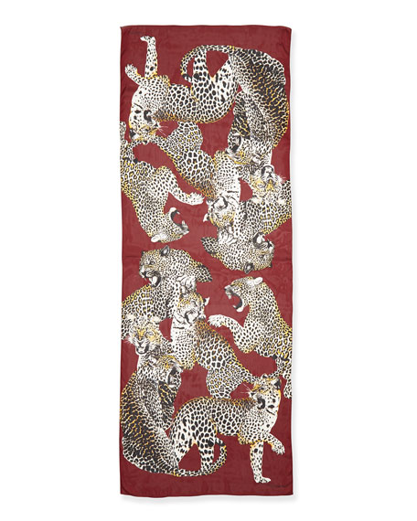 Leopard Printed Silk Wrap, Burgundy/Multi
