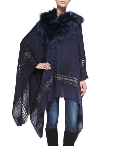 Roberto Cavalli Woven Poncho with Fur Collar, Midnight Blue