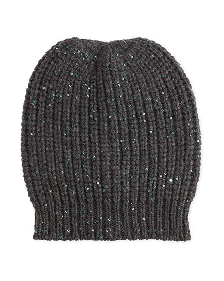 Cashmere Sequined Skull Cap