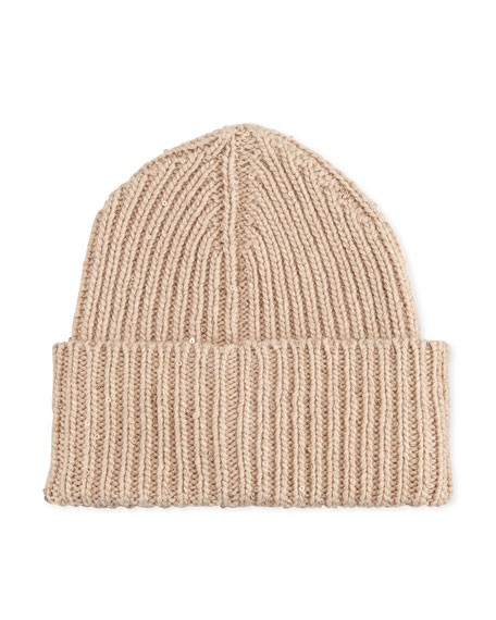 Ribbed Paillette Knit Skull Cap, Wheat