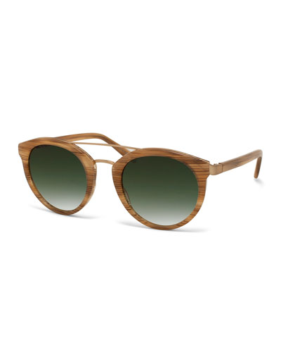 Barton Perreira Dalziel Round Sunglasses with Metal Bar, Horn