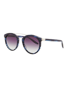 Barton Perreira Dalziel Round Sunglasses with Metal Bar, Midnight