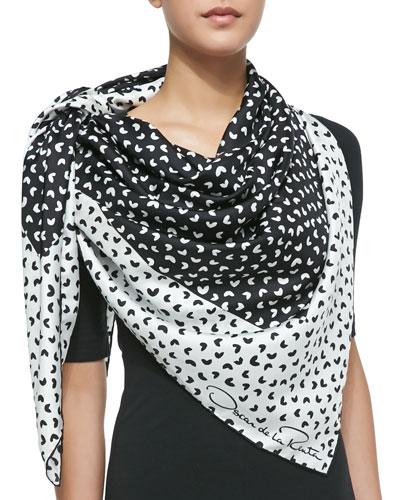 Heart-Print Silk Square Scarf, Black/White