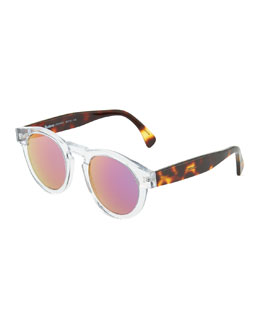 Illesteva Clear Leonard Round Sunglasses with Pink Mirror Lens