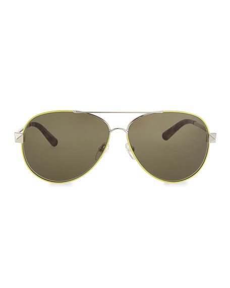 Metal Aviator Sunglasses with Rockstud Temples, Fluorescent Yellow