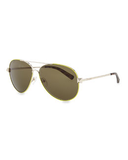 Valentino Metal Aviator Sunglasses with Rockstud Temples, Fluorescent Yellow