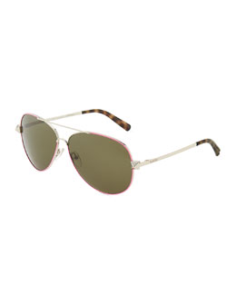 Valentino Metal Aviator Sunglasses with Rockstud Temples, Fuchsia