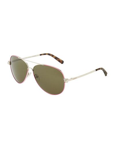 Valentino Metal Aviator Sunglasses with Rockstud Temples, Fuchsia