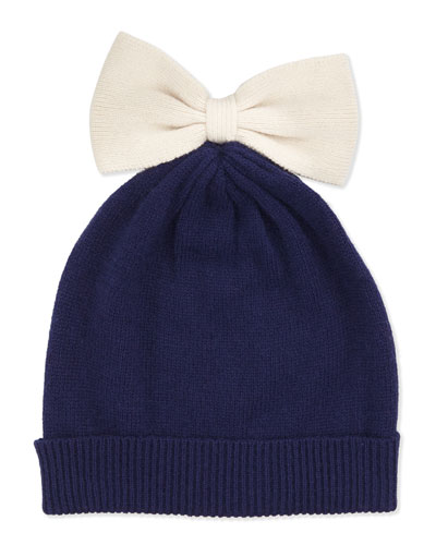 Colorblock Bow Beanie, Navy/Cream