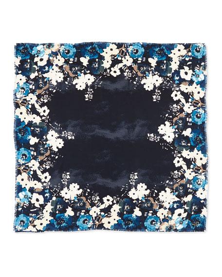autumn floral-print silk scarf, blue