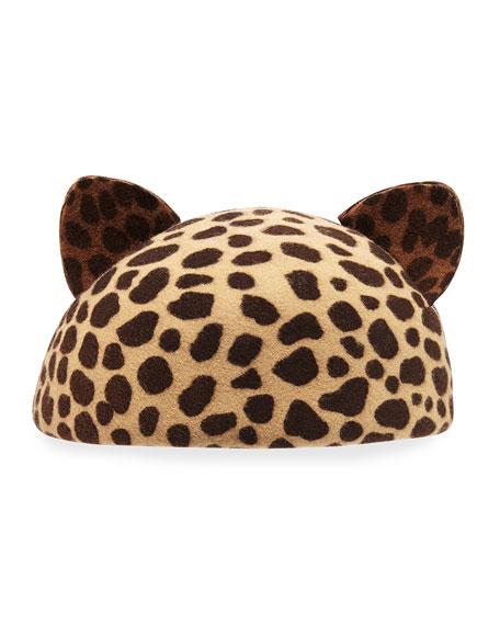 Caterina Cat-Ear Beret Cap, Leopard