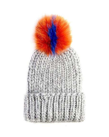 Eugenia Kim Rain Knit Hat with Fur Pompom, Gray/Orange/Blue