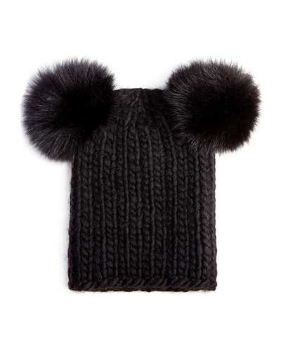 Eugenia Kim Mimi Knit Hat with Fur Pompoms, Black
