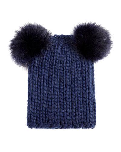 Eugenia Kim Mimi Knit Hat with Fur Pompoms, Navy