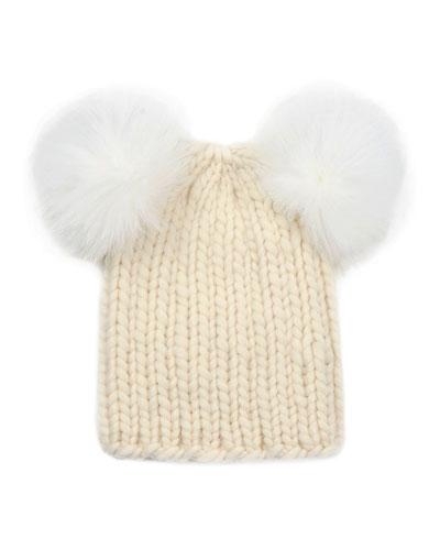 Eugenia Kim Mimi Knit Hat with Fur Pompoms, Cream