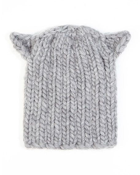 Felix Cat-Ear Knit Hat, Light Gray