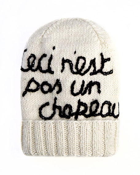 "Magritte ""This is Not a Hat"" Graphic Knit Hat"