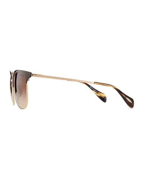 Plastic/Metal Half-Rim Sunglasses, Brown