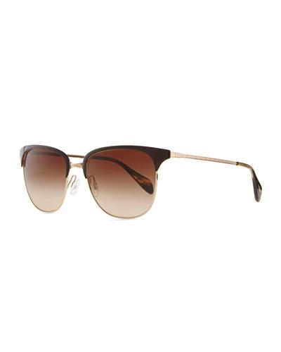 Oliver Peoples Plastic/Metal Half-Rim Sunglasses, Brown