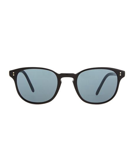 Fairmount Sun Plastic Square Sunglasses, Black/Blue