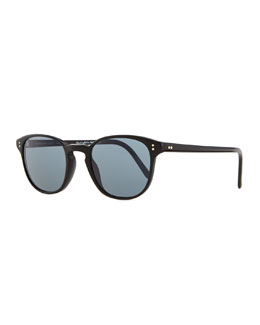 Oliver Peoples Plastic Square Sunglasses, Black/Blue