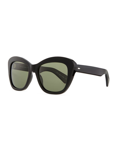 Oliver Peoples Emmy Plastic Square Polarized Sunglasses, Black
