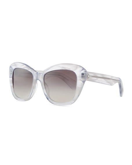 Emmy Marbled Square Sunglasses, Clear