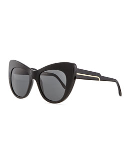 Stella McCartney Thick Plastic Cat-Eye Sunglasses, Black