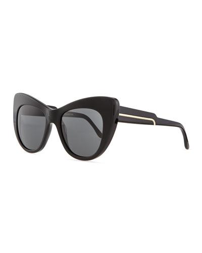 Stella McCartney Thick Plastic Cat-Eye Sunglasses, Black