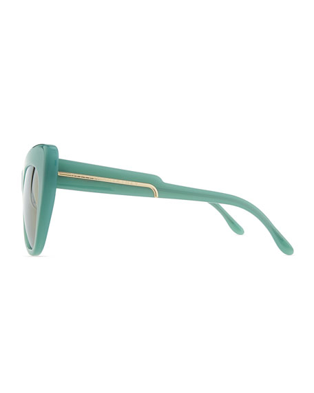 Thick Plastic Cat-Eye Sunglasses, Blue