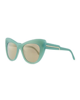 Stella McCartney Thick Plastic Cat-Eye Sunglasses, Blue