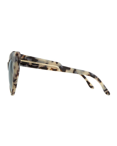 Tortoise Cat-Eye Sunglasses, Gray