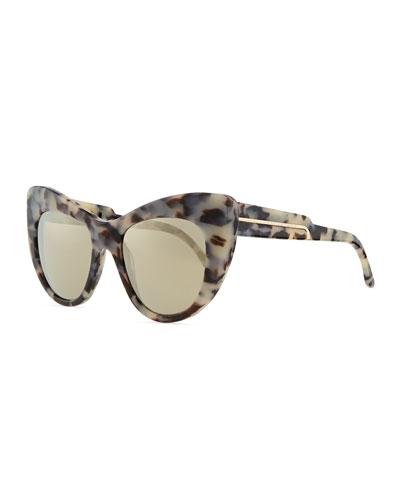 Stella McCartney Tortoise Cat-Eye Sunglasses, Gray