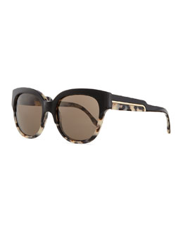 Stella McCartney Square Solid/Tortoise Sunglasses, Black/Multi