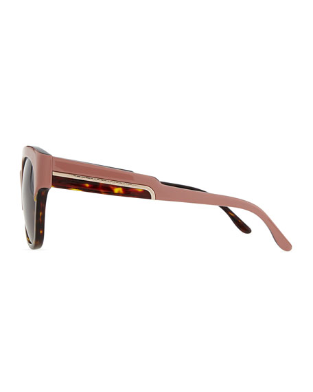 Thick Plastic Square Sunglasses, Pink/Tortoise