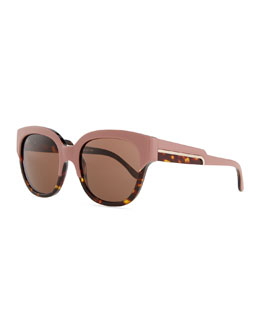 Stella McCartney Thick Plastic Square Sunglasses, Pink/Tortoise