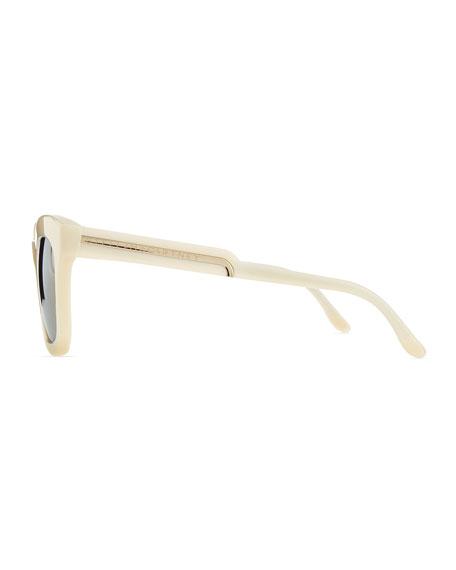 Thick Plastic Square Sunglasses, Beige