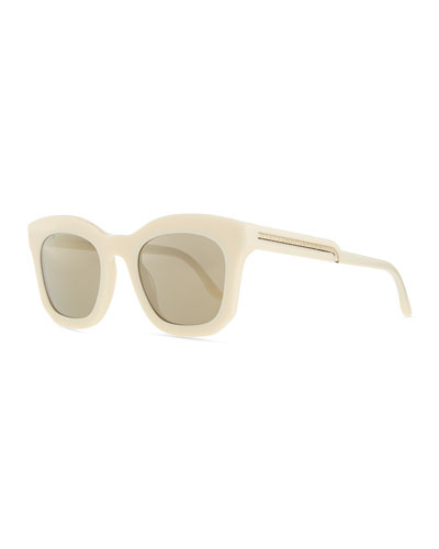 Thick Plastic Square Sunglasses, Beige