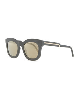 Stella McCartney Thick Plastic Square Sunglasses, Gray