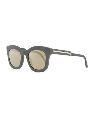 Stella McCartney Thick Plastic Square Sunglasses, Gray