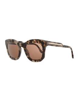 Stella McCartney Thick Plastic Square Sunglasses, Gray Tortoise