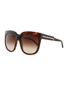 Stella McCartney Havana Plastic Square Sunglasses, Brown