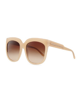 Stella McCartney Oversized Plastic Square Sunglasses, Beige