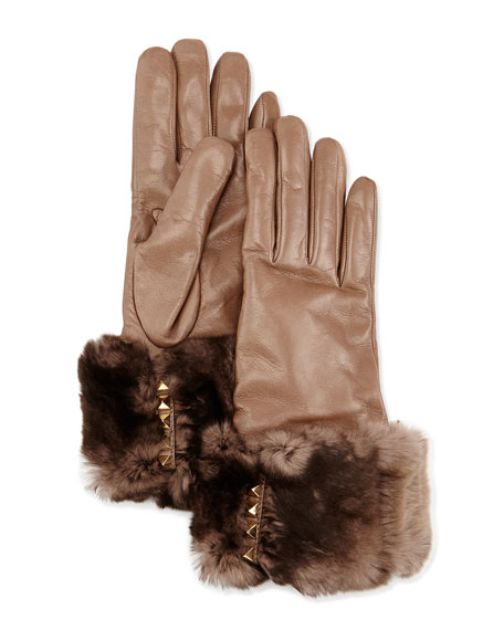 Fur-Trimmed Pyramid Stud Leather Gloves, Mauve (Brown)