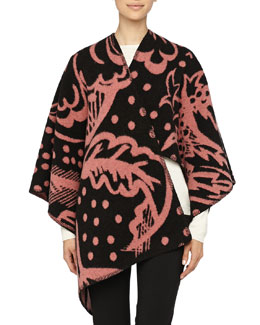 Burberry Prorsum Thistle Motif Blanket Poncho, Cameo Pink