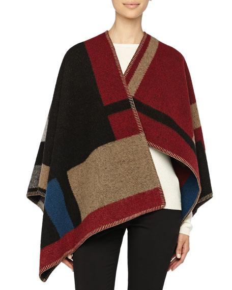 Colorblock Check Blanket Poncho