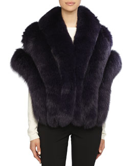 Gorski Fox Fur Stole with Leather Insets, Purple