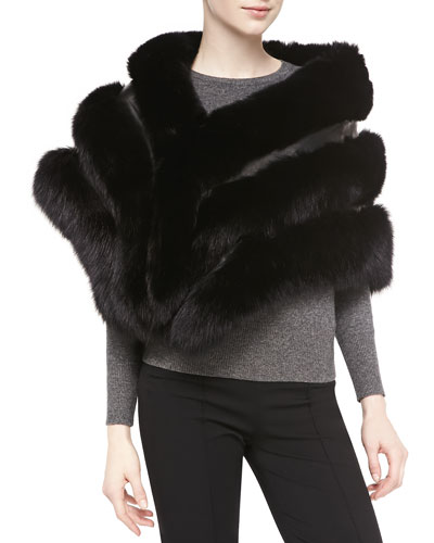 Gorski Fox Fur Stole with Leather, Black