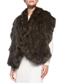 Gorski Ruffled Sable Fur Shawl, Brown